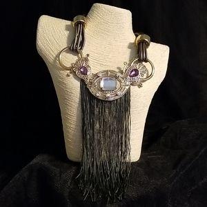 Faux Leather Collar & Fringe Necklace Set